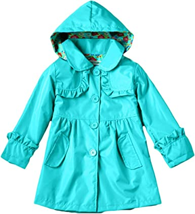Fulision 2-8 Years Old for Little Girl Cute Printing Waterproof Hooded Raincoat