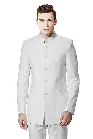 fcd56580e MY'S Men's Custom Made White Mandarin Collar 5 Button Tuxedo Suit Pants Set  ...
