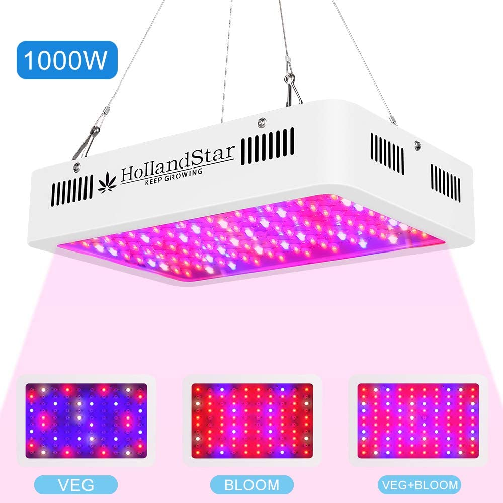 Adjustable Rope and Haning Hook Temperature /& Humidity Monitor with Dasiy Chain 1500W LED Grow Light with Double Switch Full Spectrum Grow Lamp for Indoor Hydroponic Plants for Veg and Flower