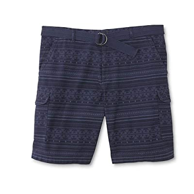 Northwest Territory Men's Big & Tall Belted Cargo Shorts (Tribal Blue, 46): Clothing