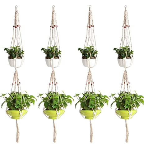 Awesome Accmor Elegant Plant Hanger Set Of 4, 59 Inch Pure Macrame Handmade Cotton  Rope Indoor