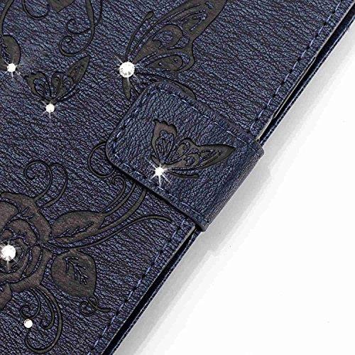 Voguecase® für Apple iPhone 6 Plus/6S Plus 5,5 hülle, Kunstleder Tasche PU Schutzhülle Tasche Leder Brieftasche Hülle Case Cover (Diamant/Schmetterling liebt Blumen IV/Dunkelblau) + Gratis Universal E