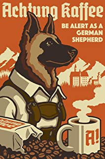 product image for German Shepherd - Retro Coffee Ad (16x24 Giclee Gallery Print, Wall Decor Travel Poster)