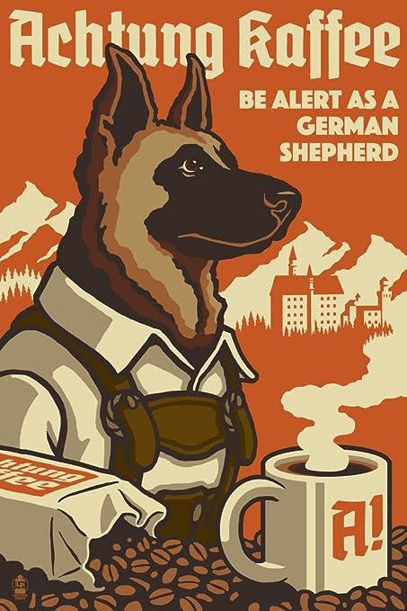 Amazon.com: German Shepherd - Retro Coffee Ad (12x18 Art Print, Wall ...