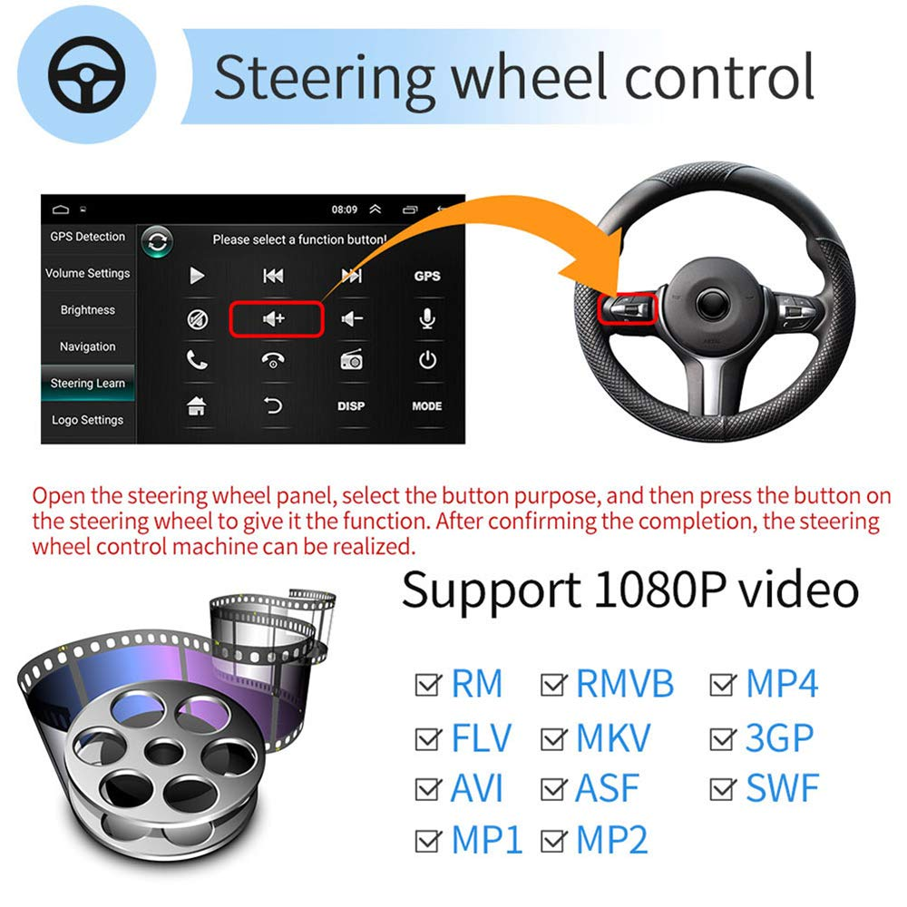 Indash Car Radio Head Unit Support WiFi//Mirror Link//Backup Camera//GPS Navigation//DVR//FM//USB Car Radio Double Din Car Stereo 9 HD 2.5D Touch Screen Car Radio Bluetooth Android 8.1 1G+16G