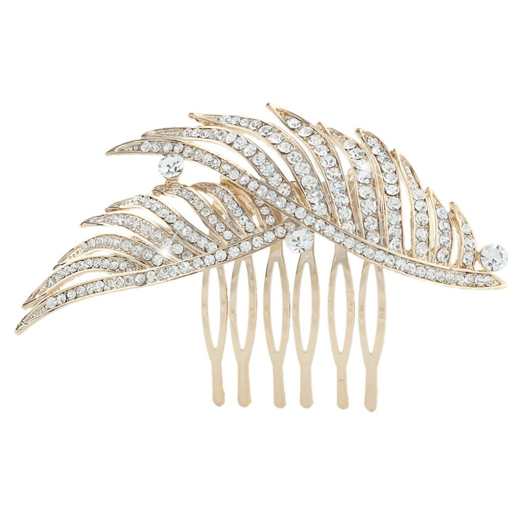 Ever Faith Peacock Feather Hair Comb Bridal Clear Austrian Crystal N04285-2