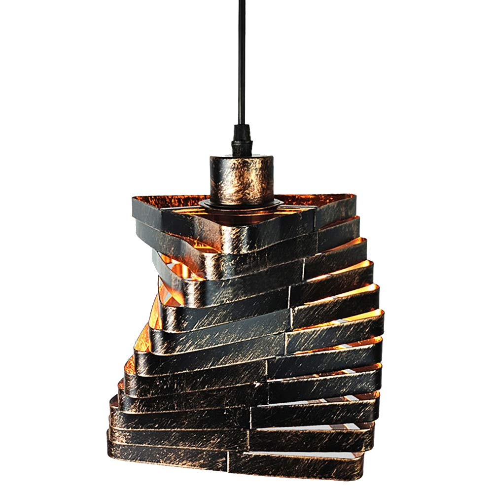 Industrial Steampunk Spiral Chandelier, Motent Retro Black Iron Bar Hanging Light Creative Diamond Ceiling Lamp Shade for Kitchen Library Office - 6.2 inches Dia by MOTENT