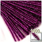 The Crafts Outlet Chenille Sparkly Stems, Pipe Cleaner, 20-in (50-cm), 1000-pc, Fuchsia