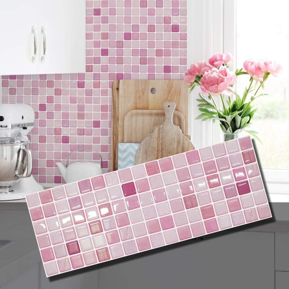 Amazon Com Beaus Tile Decorative Tile Stickers Peel And Stick Backsplash Fire Retardant Tile Sheet Coral Fabric 2 5 28 X 14 8 Home Kitchen