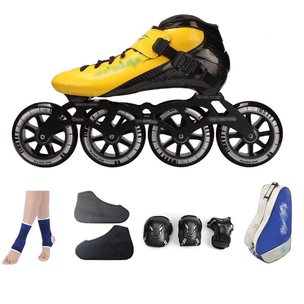 ZYH ローラースケートインラインスケートカーボンファイバースピードスケートシューズレーシングシューズプロの大人子供用大型ローラースケートシューズローラースケートインラインローラースケート (Color : YellowA, サイズ : 43)   B07R9WKRPR