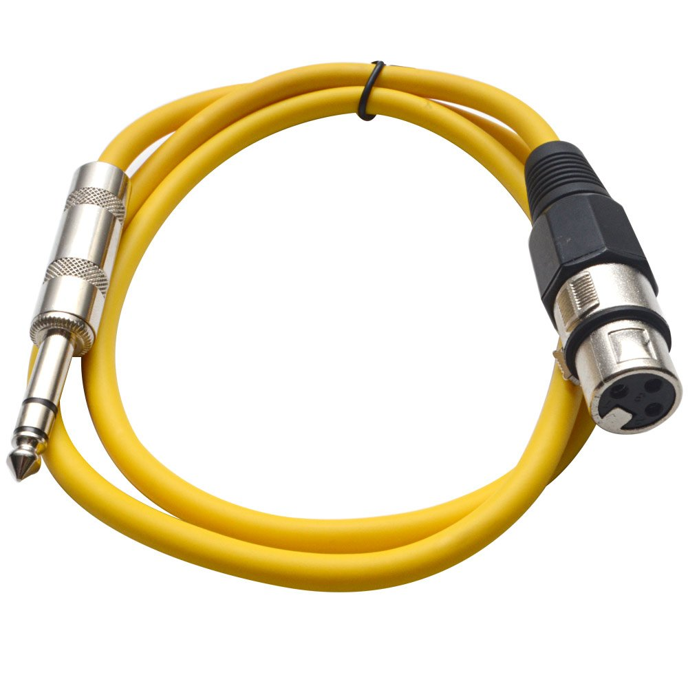 Seismic Audio SATRXL-F2Yellow6 2-Feet XLR Female to 1//4-Inch TRS Patch Cables Yellow