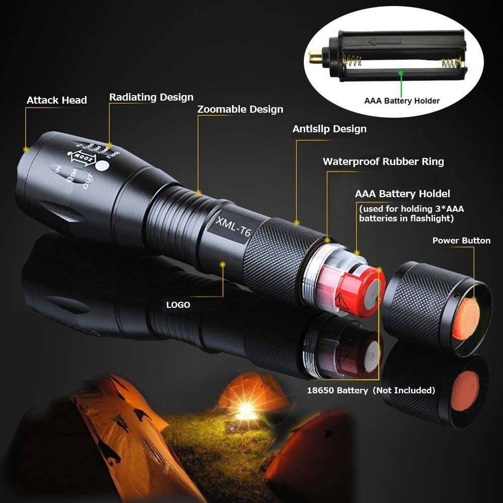 2 PACK Tactical Flashlight Tac Light Military LED Waterproof Camping Outdoor