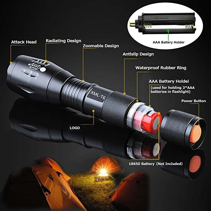 Lamp Bike Clip Details about  /3* Tactical 350000LM 5-Modes LED Flashlight Torches Charger