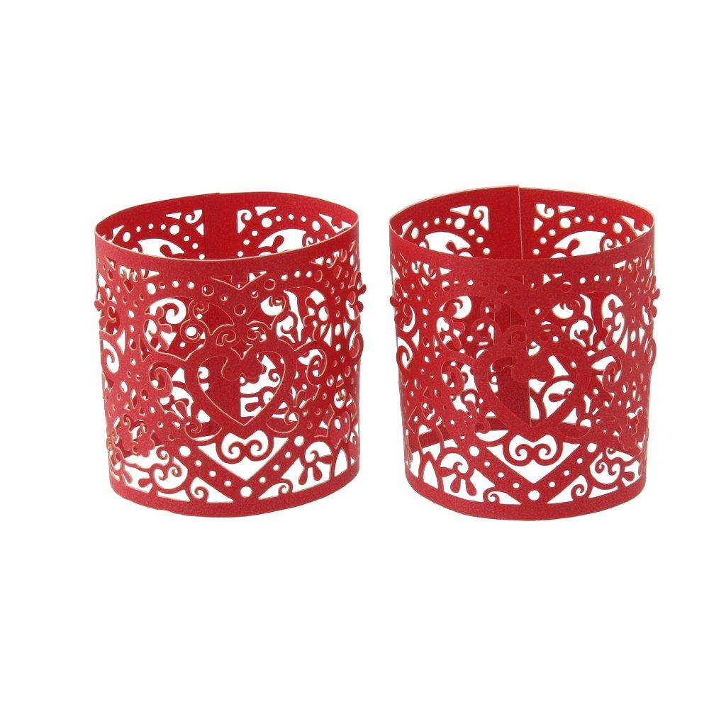 Baoblaze Set de 6pcs Porteurs de Bougie à LED Tasse Etuis Coeur en Papie Accessoire Décoration de Table Maison - Rouge