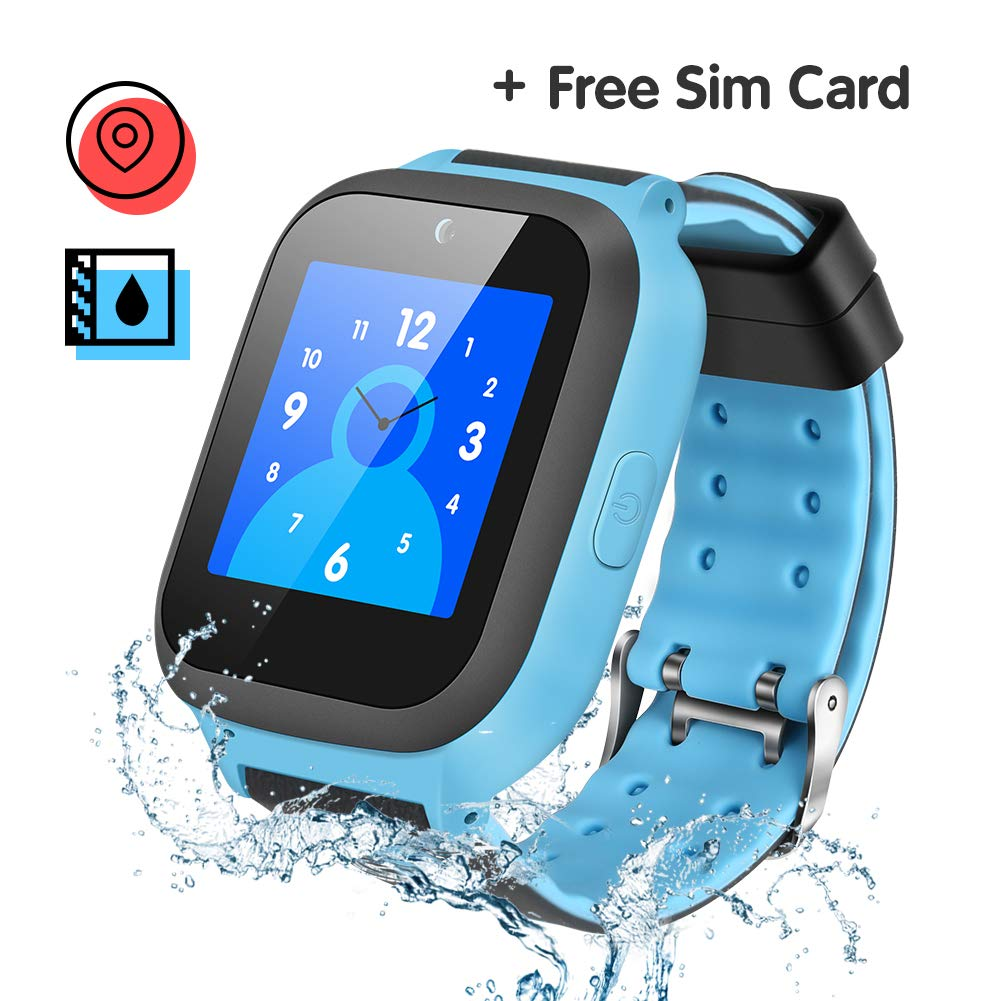 Enow Kids Smart Watch, IP67 Waterproof GPS/LBS Tracker Smartwatch with SOS Call Camera Flashlight Alarm Activity 1.44'' Touch Screen SIM Card Slot Electronic Toy for Android/iOS (Sim Card Included)