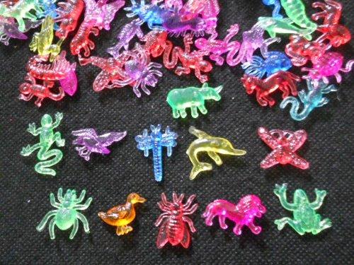 100 Pcs Mix Assorted Acrylic Animals Figure Mix transparent ()