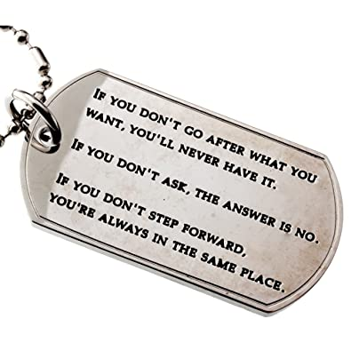RH Jewelry Inspirational Quotes Dog Tag Stainless-steel Pendant