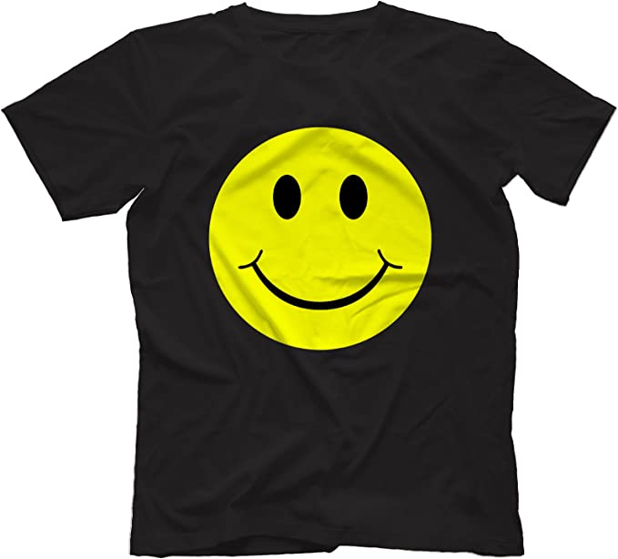 Mens Happy Smiling Face T-Shirt Yellow Tee Music Retro Party fancy Dress Gift