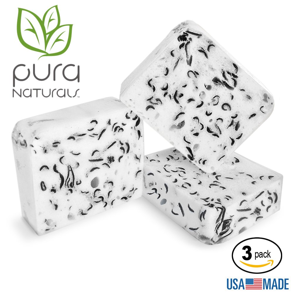 Pura Naturals Body Wash Sponge Fight Acne w/ Charcoal & Tea Tree. Soap-Infused, Deep Cleansing Buffs Replace Exfoliant, Washcloths & Loofah. No Chemicals/Abrasives (3-Pack Activated Charcoal Tea Tree)