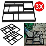 patio maker - go2buy 3PCS Paving Pavement Concrete Mould Stepping Stone Mold Garden Lawn Path Paver Walk,23.8 x 19.9 x 1.7'' (LxWxH)