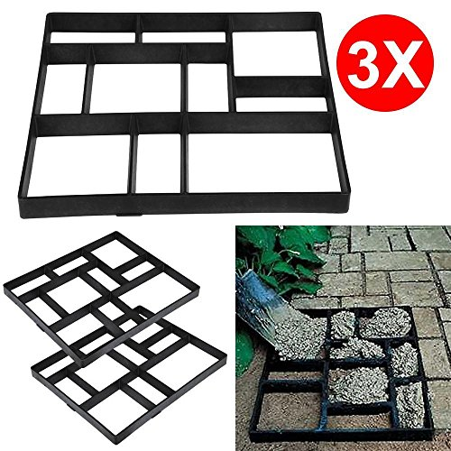 go2buy 3PCS Paving Pavement Concrete Mould Stepping Stone Mold Garden Lawn Path Paver Walk, 23.8 x 19.9 x 1.7 (Rubber Patio Stone Square)