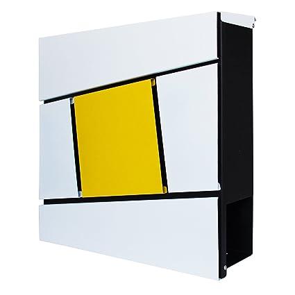 LZQ Estilo moderno Buzón de Acero Inoxidable Buzón de Exterior ara cartas y correo postal con el periódico rollo Bloqueable 2 Llaves, Modelo G