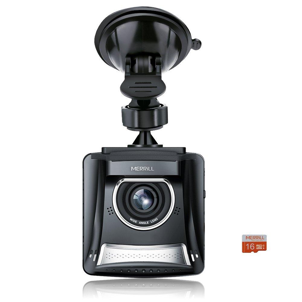 Car Dash Cam, Merrill 2.4 'LCD Full HD 1080p 140 Lens precipitare Camera Recorder con visione notturna, registrazione del ciclo, G-sensor per il Real Time Video Share, 16GB TF Modello: F2401 nero