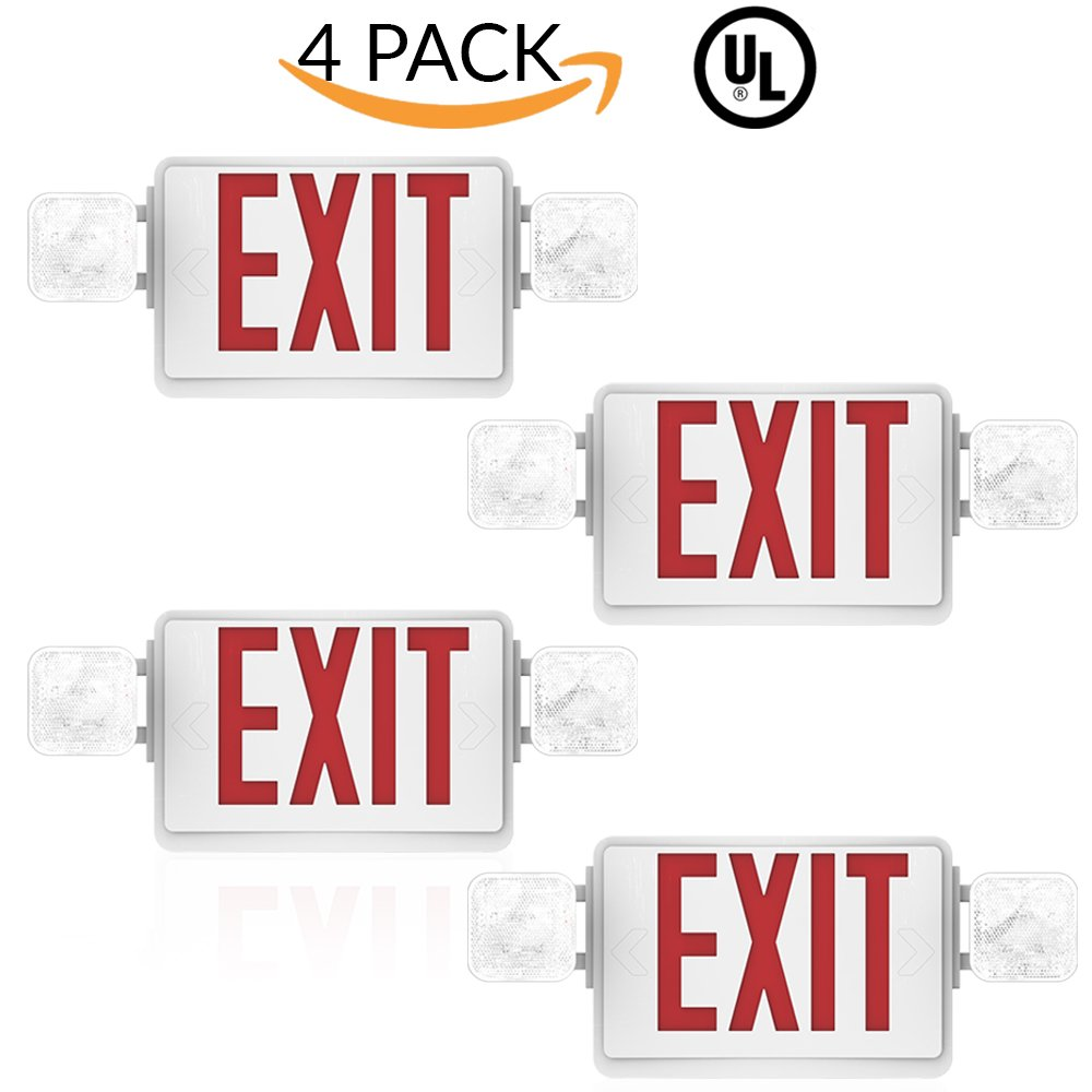 Sunco Lighting 4 Pack Ul Listed Single Double Face Led Combo Emergency Exit Sign With 2 Head Lights And Back Up Batteries Us Standard Red Letter