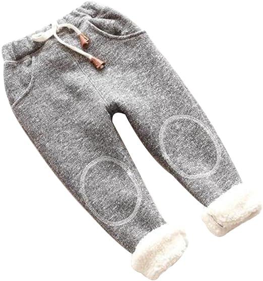 Kids Boy Girls Winter Warm Thick Fleece Pants Children Jeans Denim Trousers Star