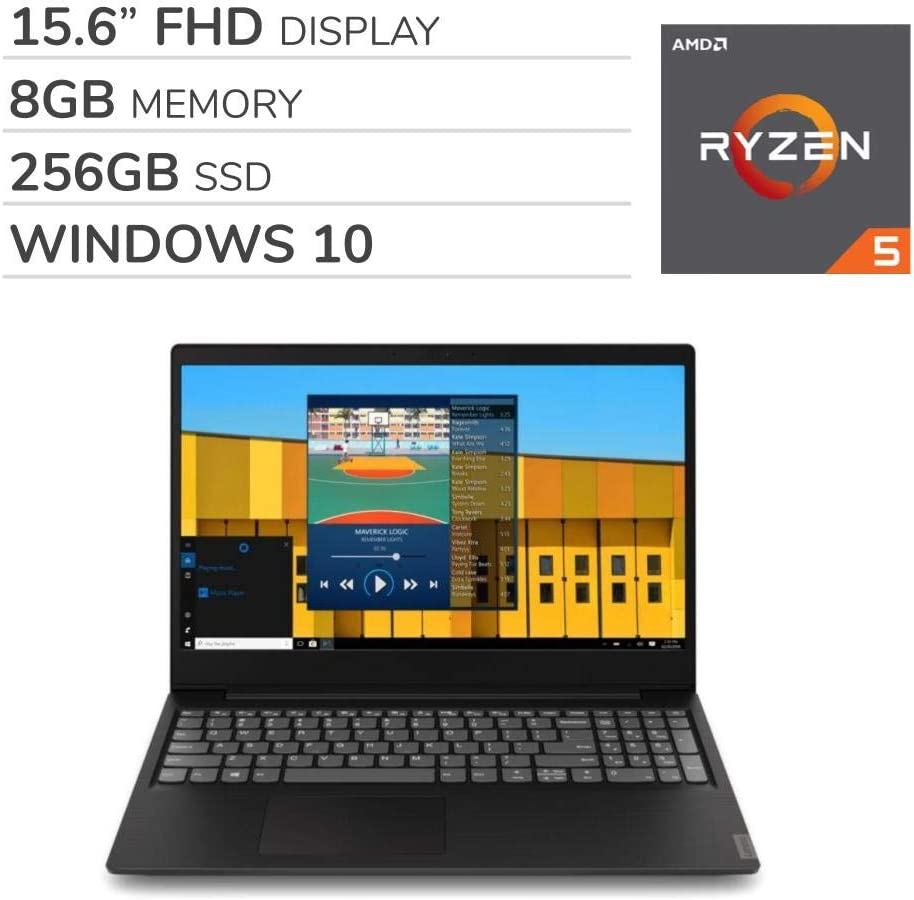"Lenovo IdeaPad S145 2019 Premium 15.6"" FHD Laptop Notebook Computer,AMD Ryzen 5-3500U 2.0 GHz, AMD Radeon Vega 8, 8GB RAM, 256GB SSD, No DVD, Wi-Fi, Bluetooth, Webcam, HDMI, Windows 10 Home"