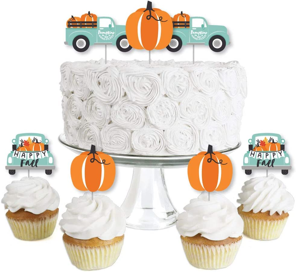 Big Dot of Happiness Happy Fall Truck - Dessert Cupcake Toppers - Harvest Pumpkin Party Clear Treat Picks - Set of 24