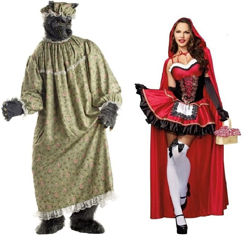 Amazon Com Adult Little Red Riding Hood And Granny Wolf Costume