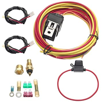 New DUAL ELECTRIC COOLING FAN WIRING INSTALL KIT 185//165 THERMOSTAT 40 AMP RELAY