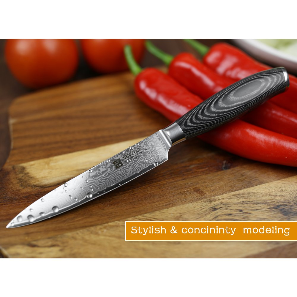 XINZUO 5 inch Utility Knife 67 Layer Japanese Damascus Steel Kitchen Knife Fruit Knife Peeling Knife with PakkaWood Handle - Ya Series by XINZUO (Image #4)