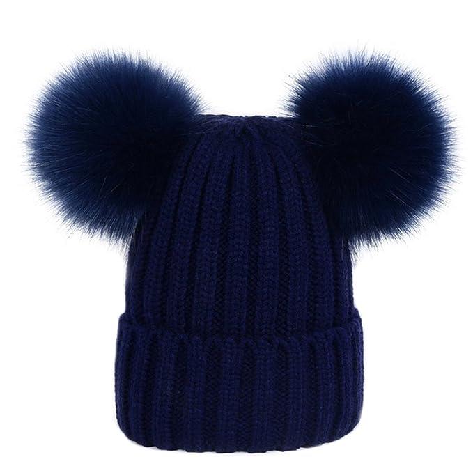 Bluestercool Cappello Berretto Donna Inverno Elegante Beanie in Cotone a  Maglia  (black ) fa58cd2cc460