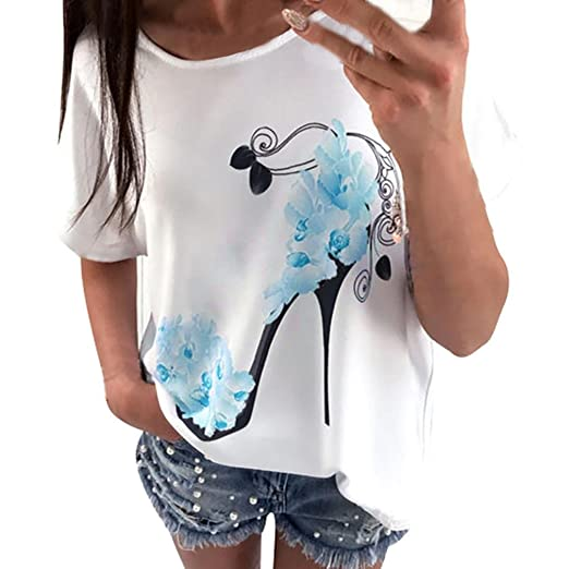 T Shirts, Womens Short Sleeve High Heels Printed Casual Loose Tops Blouse FORUU