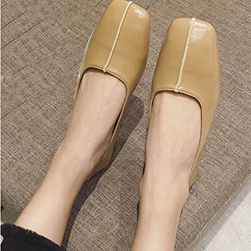 Womens On Heels Vamps Apricot Low Top Sole Slip Shoes Low Loafer Microfiber Hoxekle Square Toe Rubber H74qdH