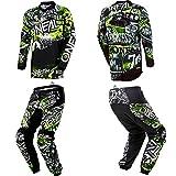 O'Neal Element Attack Black/Hi-Viz motocross MX off-road dirt bike Jersey Pants combo riding gear set (Pants W40/Jersey XX-Large)