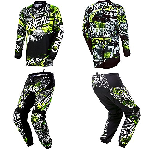 O'Neal Element Attack Black/Hi-Viz motocross MX off-road dirt bike Jersey Pants combo riding gear set (Pants W32 / Jersey Medium) ()