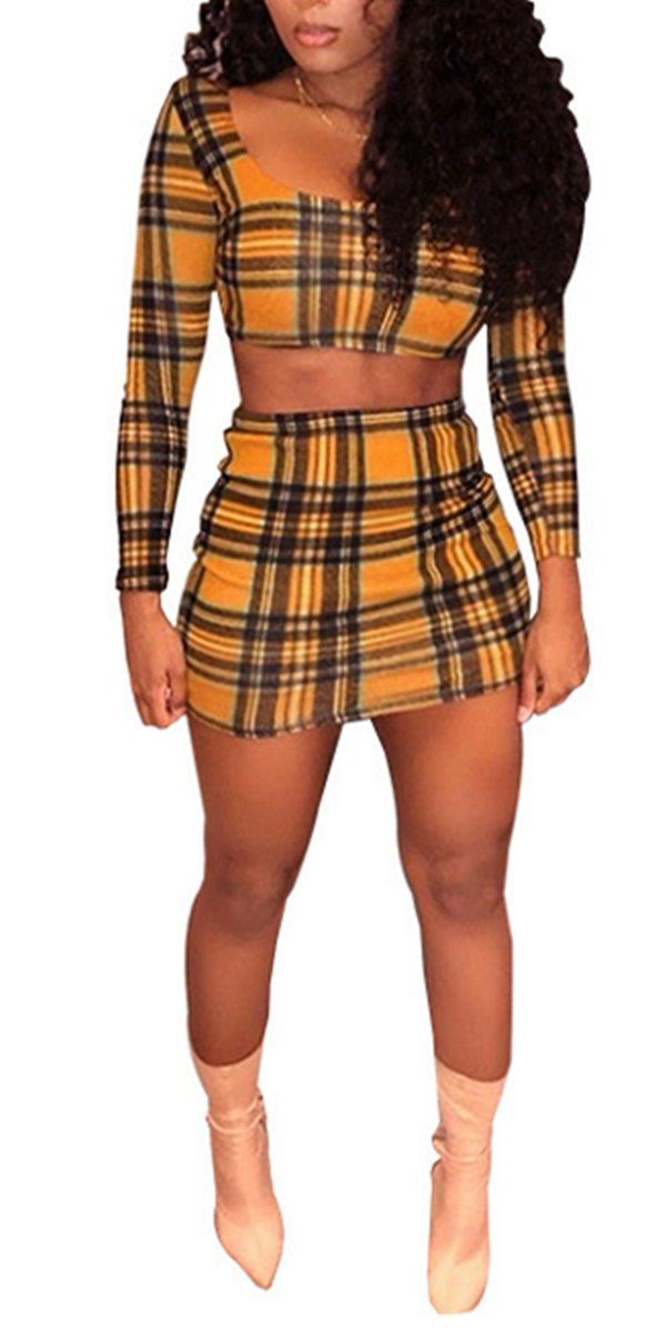 Chemenwin Women's Sexy 2 Pieces Outfit Rhinestone Long Sleeve Crop Top + Skirt Suit Set Bodycon Clubwear Jumpsuit Rompers (Medium, Yellow)