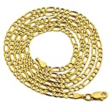 LoveBling 14K Yellow Gold Figaro Chain Necklace, Available in 2mm to 5mm, 18'' to 24'' (2mm, 24'')