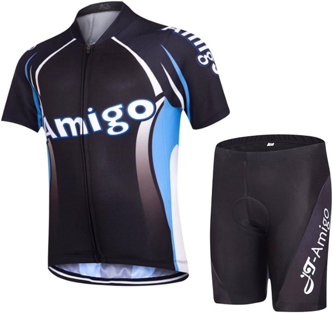 Short Sleeve Jersey + Padded Shorts AMIGO JT Kids Cycling Jersey Set