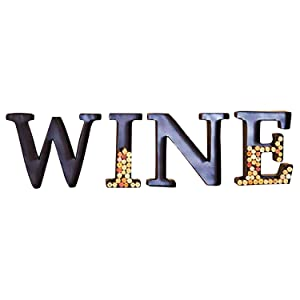 Metal Wine Cork Holder Monogram Decorative Wall Letter (Wine)