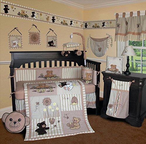 SISI Baby Bedding - Bear and Bee 14 PCS Crib Bedding Including Lamp Shade