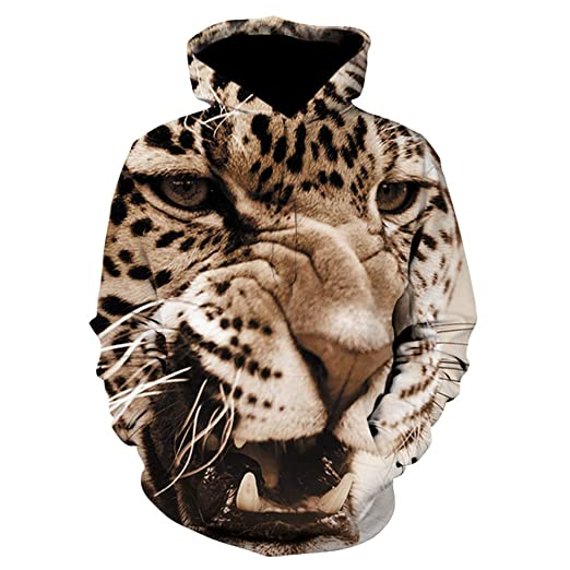 WM & MW Novelty Mens 3D Tiger Printed Sweatshirt Hoodie Long Sleeve Casual Party Hooded Pullover