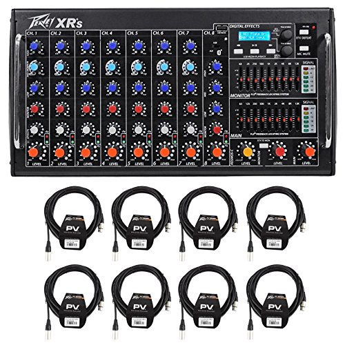 Package: Peavey XR S 1000 Watt Rack Mountable Powered/Active 8 Channel Mixer w/ Bluetooth/USB+AutoTune XRAT and 3-Band EQ Per Channel + (8) Peavey PV 20' XLR Female to Male Low Z Mic Cables by Peavey