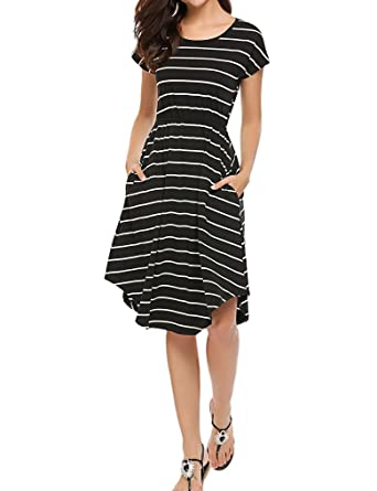 cb9a0350982d Image Unavailable. Image not available for. Color: Qearal Womens Stripes  Dresses Summer Short Sleeve Elastic Waist Midi Dress with Pockets(Black,