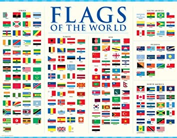 flags of the world poster chart amazon co uk office products