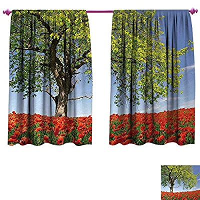 Anniutwo Poppy Decor Curtains by Landscape of Blooming Poppies on Field Majestic Tree Rural Terrain Habitat Photo Room Darkening Wide Curtains Green Red Blue