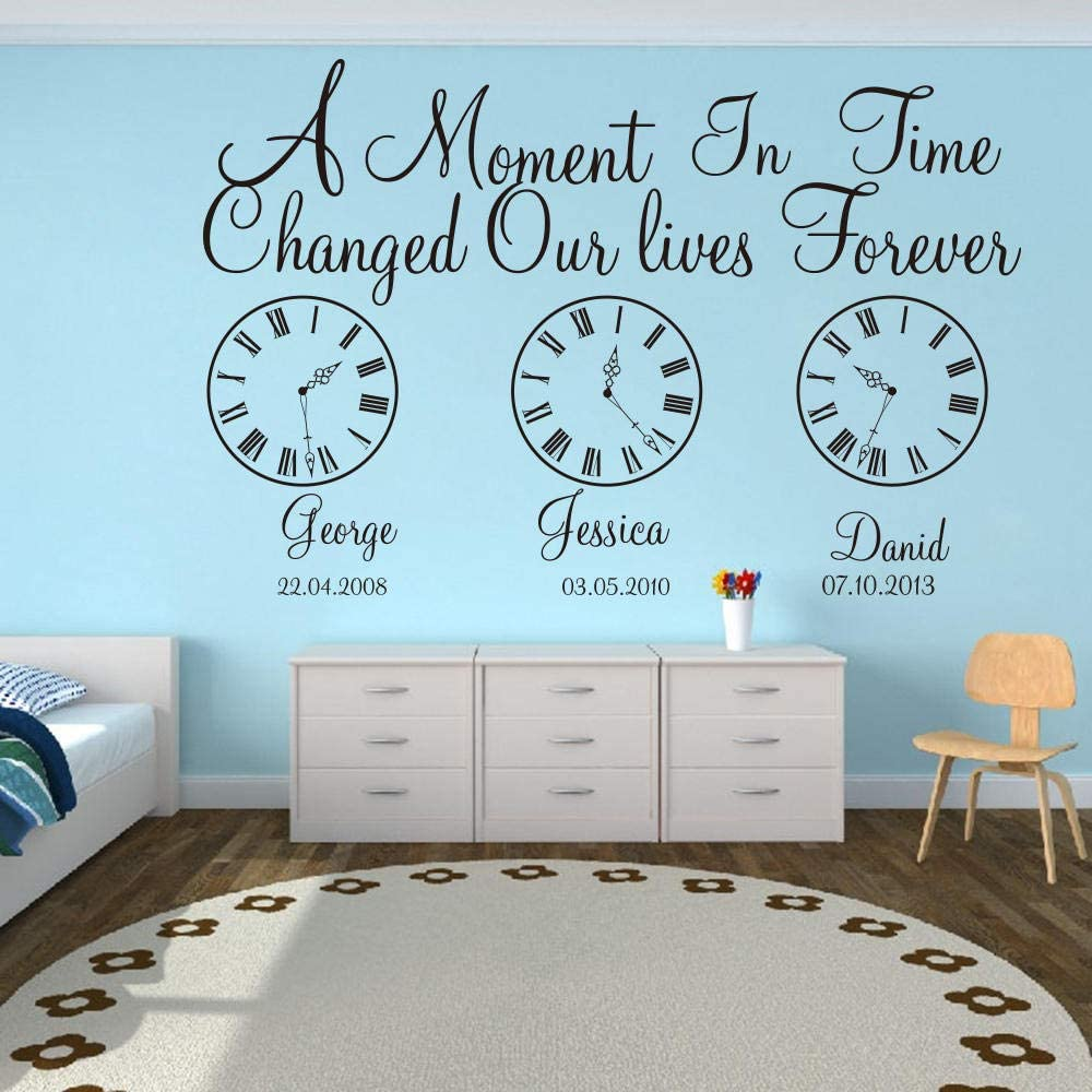 Wall Stickers Murals Kids Birth Date Wall Decal Kids Room Bedroom A Moment In Time Changed Our Lives Clock Wall Sticker Vinyl Nursery Art Kitchen Dining